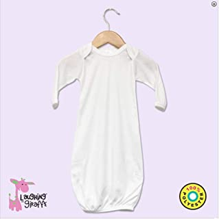 Laughing Giraffe Baby Infant Blank Long Sleeve Sleeper Gown (3-6M, White)