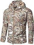 OLOEY Men's Tactical Softshell Fleece Jacket Camouflage Military Hoodie Autumn Winter Outdoor Fleece Jacket Waterproof Windproof Warm Hooded Hiking Ski Jacket Hunting Coat (CP,XL)