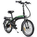 Bicicleta eléctrica plegable de 20 pulgadas, bicicleta eléctrica con luz LED, capacidad de carga de 120 kg (negro y verde, batería de 7,5 Ah)