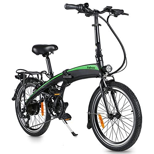 Elektro Faltfahrrad 20 Zoll Klappfahrrad E-Bike Mit LED-Licht Ebike Load Capacity 120KG (Schwarz Grün - 7.5 Ah Batterie)