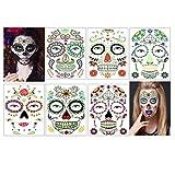 Tatuajes faciales que brillan en la oscuridad, tatuaje del día de los muertos, maquillaje de Halloween para disfraces de Halloween, 6 hojas (Pegatinas de cara)