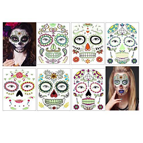 Gesicht Tattoos leuchten im Dunkeln,Tag der Toten Tattoo Halloween Makeup Tattoos für Halloween Masquerade Party, 6 Blatt (Face stickers)