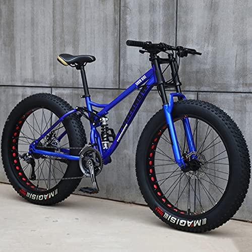 26 Pollici Mountain Bike 24 Velocità Bicicletta Adulto Fat Tire Mountain Trail Bike, Telaio in Acciaio Ad Alto Tenore di Carbonio Bicycle con Doppia Sospensione Completa Doppio Freno a Disco
