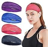 Sport Stirnband Dünn für Herren und Damen Elastische Frauen Schweißband Sommer Stirnbänder Anti Rutsch Lauf Kopfband Haarband für Yoga, Jogging, Fitness