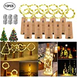 Aromu 10 Stück Lichterketten für Flaschen 20 LEDs 2M Warmweiß