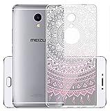 Sunrive Meizu M5S Hülle Silikon, Transparent Handyhülle Schutzhülle Etui Case Backcover für Meizu M5S(TPU Blume rosa)+Gratis Universal Eingabestift