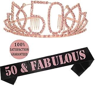 50th Birthday Gifts, 50th Birthday Tiara and Sash, Happy 50th Birthday Party Supplies, 50 Fabulous Black Glitter Satin Sash and Tiara Birthday Crown for 50th Birthday Party Supplies and Decorations