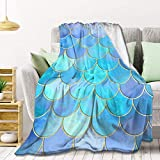 AMITAYUS Aqua Pearlescent & Gold Mermaid Scale Pattern Fleece Throw Blanket Lightweight Super Soft Flannel Bed Blanket Perfect Home Decor for Couch Chair Sofa Living Room 60'X50' Medium
