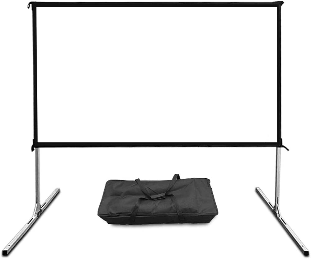 LHSG Projector Screen 72/84/100 inch Portable Outdoor Mobile Movie Projection Screen Manual Aluminum Alloy Bracket Floor Folding Assembly Soft Screen