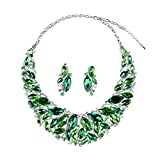 Hamer Bridal Link Costume Jewelry Crystal Choker Pendant Bib Statement Chain Charm Necklace and Earrings Sets (Green)