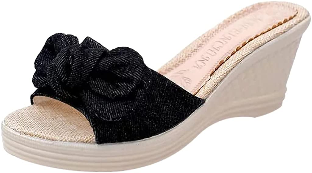ZiSUGP Women Peep Toe Platform Sandals Bow Hook and Loop Summer Wedge Sandals