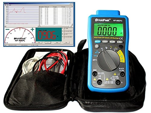 HoldPeak HP-90EPC Digital Multimeter CATIV USB-Anschluss Win10 Software Batterietester Kapazität Frequenz Temperatur Diodentest grau-blau