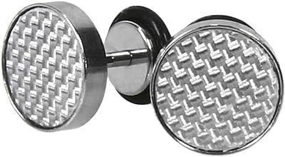 NKlaus Fake Plug CARBON Edelstahl Silber Schwarz Ohrstecker Ohrringe EINZEL 10,0mm 6151
