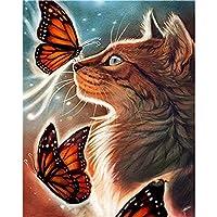 数字によるDIY絵画キット動物数字による絵画キャンバス上のフレームレスデジタルハンドペインティング猫ホームナンバー
