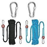 QiZheng Cuerda Escalada,Impermeable y Antideslizante Cuerda Escalada 10mm,20m Cuerda de Escalada de Nylon de Alta Resistencia, Escape, Espeleología, Camping, Senderismo