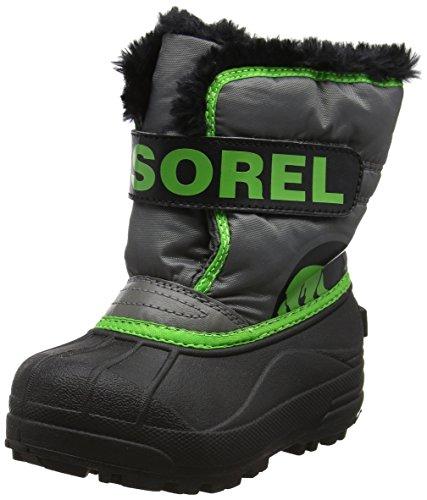 Sorel Childrens Snow Commander Unisex-Kinder Schneestiefel, Grau (Quarry, Cyber Green), 30 EU