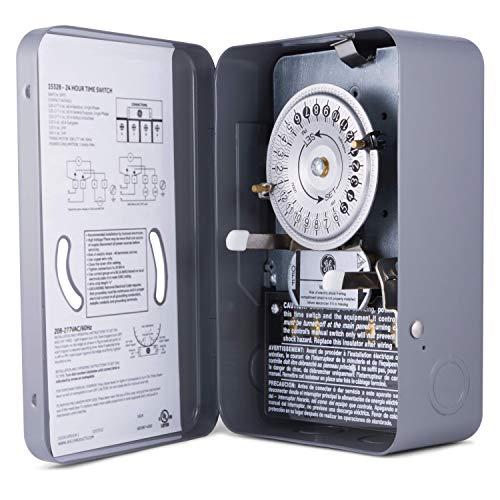 GE 24-Hour Indoor Heavy Duty Mechanical Water Heater Timer Switch - 240 VAC - NEMA 1-Rated Metal...