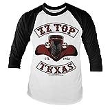 ZZ-Top Oficialmente Licenciado Texas 1962 Camiseta de Béisbol de Manga Larga (Blanco/Negro), Small
