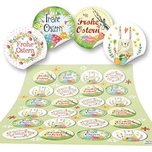 Logbuch-Verlag 48 Frohe Ostern Aufkleber Osterhase Osterdeko bunt Osteretiketten rund zur Verpackung für Kindergeschenke Geschenke Give-Away grün gelb pink