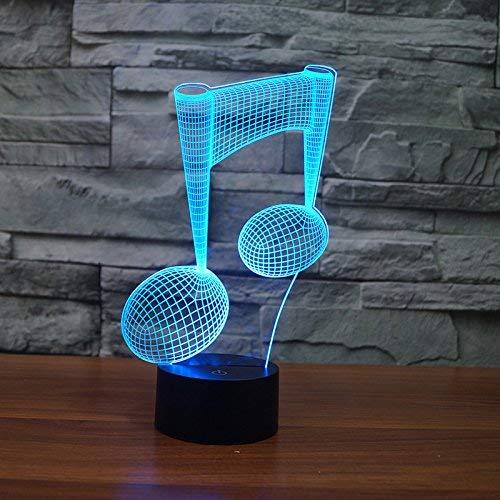 YKL World 3D-Illusionslampe, LED-Nachtlicht, Tischlampe, 7 Farben, Touch-Steuerung, USB-betrieben, USB Art Deco Music Note