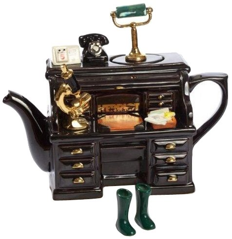 The Teapottery Teekanne, Motiv James Herriots Schreibtisch, Keramik, groß