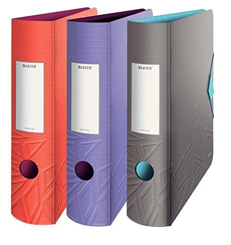 3er Pack Leitz 11160099 Multifunktions-Ordner A4, Abgerundeter Rücken sortiert breit, 8,2 cm Breite, Gummibandverschluss, Kunststoff, Active Urban Chic