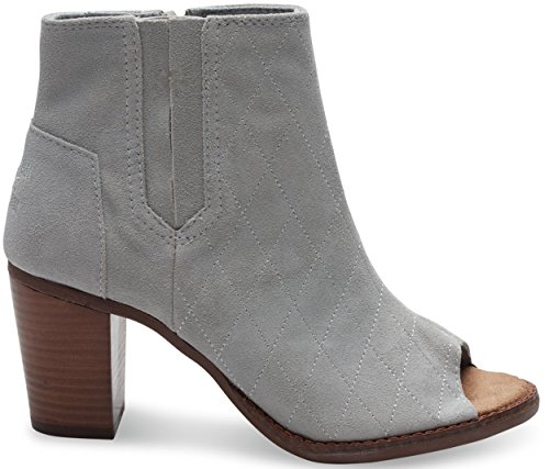 TOMS Womens Majorca Peep Toe Boot Shoes, High Rise Grey Suede Quilted, US 5