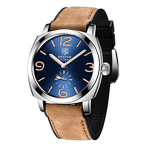 BENYAR Automatic Mechanical Watches for Men Skeleton Black Leather Watch Waterproof Business Men's Wrist Watches (SBE)