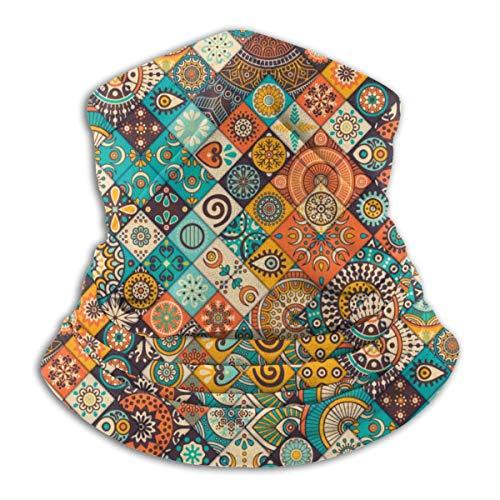 Hdadwy Medallón de baldosas de cerámica mexicana de mármol vintage, suave, agradable para la piel, calentador de cuello, cubierta facial, súper absorbente de humedad, bandana protectora, diadema, gorr
