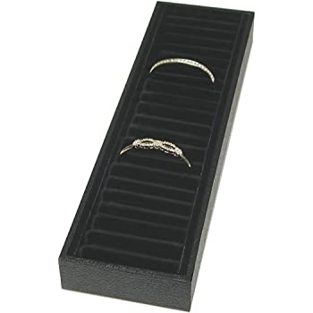 SSWBasics Bracelet Tray Holder - 21 Section Bangle Tray with Black Velvet Inserts