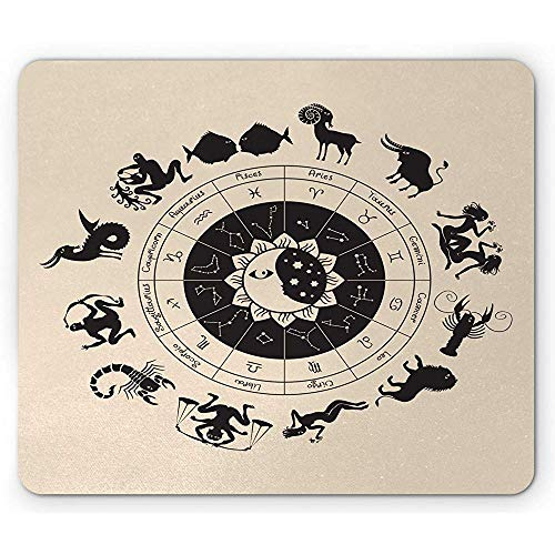 Zodiac Moon Mouse Pad, Cirkel van Horoscopen met Symbolische Dieren, Antislip Rubber Mousepad, 25x30cm Champagne Kastanje Bruin