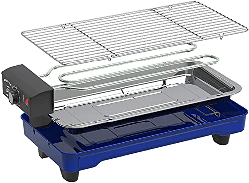 LXNQG Indoor Electric Grill Smokeless Grill 1500W Electric BBQ Grill and Non-Stick Grill Plates with Temperature Control, Removable Drip Tray, Blue