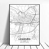 NOVELOVE Logrono City Spain Map Impresiones HD de pósters Pared del Arte Fotos Lienzo de Pintura Bar Mural Decoración para el hogar sin Marco 42 * 60cm