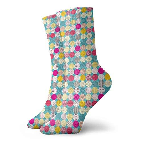 Tommy Warren Calcetines Cortos,Patrón de mosaico con lunares y rayas sobre fondo de tonos azules coloridos,Calcetines De Deporte Transpirables Calcetines Deportivos
