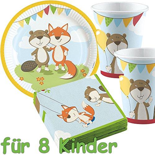 37 Set Party * Fox & Beaver * avec assiette + Gobelet + Serviettes +/décoratif/renard flanelle Animaux de la forêt Anniversaires d'Enfants Enfants Fête d'anniversaire Thème Ballons