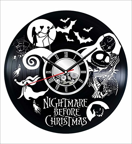 Nightmare Before Christmas Wall Clock Made of Vintage Vinyl Record - Stylish clock and Amazing Gifts Idea – Unique Home Decor – Personalized Presents for Men Women Kids – Great for Living Room Bedroom