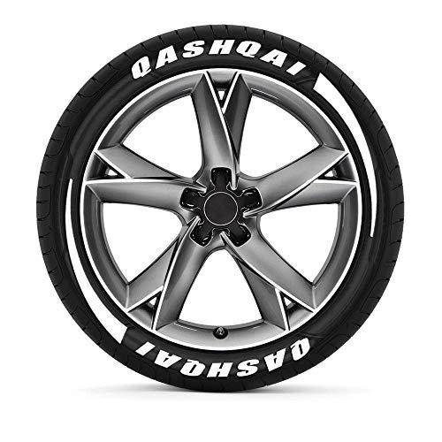 TAYDMEO 3D Gummi Autoreifen DIY Buchstaben Aufkleber, Für Nissan Qashqai J10 J11, Auto Reifen Rad Etikett Aufkleber