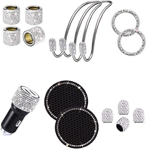 15 Pieces car Bling car Accessories for Women, Girl car Interior Cute Rhinestone Diamond Head Rest Collars Rings Dual USB Car Charger Car Hook Backseat Cup Holder Tire Valve Stem Caps(White)