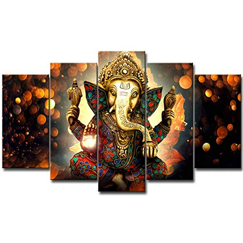 LiftGather 5pcs / set waterproof canvas painting elephant trunk God Ganesha HD print home wall hanging art prints modular pictures(40'W x 20'H, Framed)
