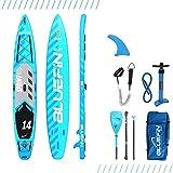 Bluefin Tabla de Paddle Surf Hinchable de 14' | 15cm de Espesor | Remo Liviano de Fibra de Vidrio | Longitud para Expedición | Espacio de Carga | Accesorios Completos | 5 Años de Garantía