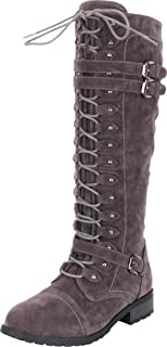 Women's Lace-Up Strappy Knee High Combat Stacked Heel Boot