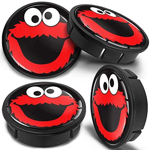 SkinoEu 4 x 60mm Universal Schwarz Rot Elmo Cookie Alufelgen Nabenkappen Felgen Kappen Felgendeckel Radkappen Radnabendeckel Nabendeckel Felgenkappen CX 42