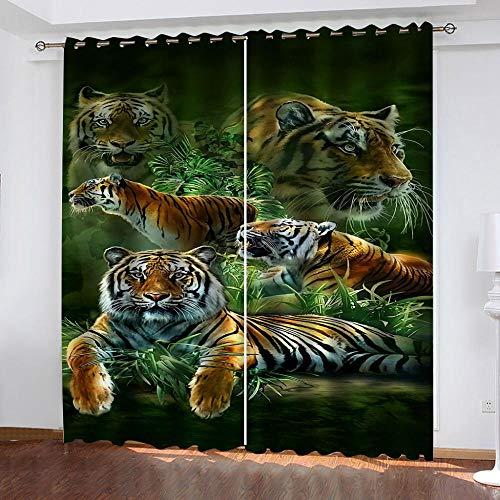 LJUKO Cortina Opaca En Cocina El Salon Dormitorios Habitación Infantil 3D Impresión Digital Ojales Cortinas Termica - -Tigre Animal De La Selva