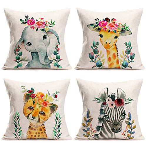 """Fukeen Set of 4 Watercolor Pattern Lovely Animals Throw Pillows Cases Cute Elephant Giraffe Zebra Tiger Baby with Leaves Flowers Garland Pillow Covers Cushions Covers for Couch, Cotton Linen 18""""x18"""""""