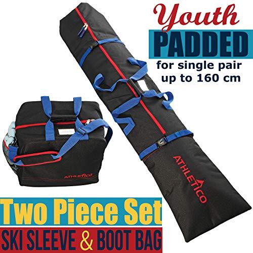 Athletico Youth Padded Ski Bag Combo (Black)