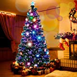 Juegoal 7.5 ft Pre-Lit Optical Fiber Christmas Artificial Tree, with LED RGB Color Changing Led Lights, Snowflakes and Top Star, Festive Party Holiday Fake Multicolor Xmas Tree with Durable Metal Legs