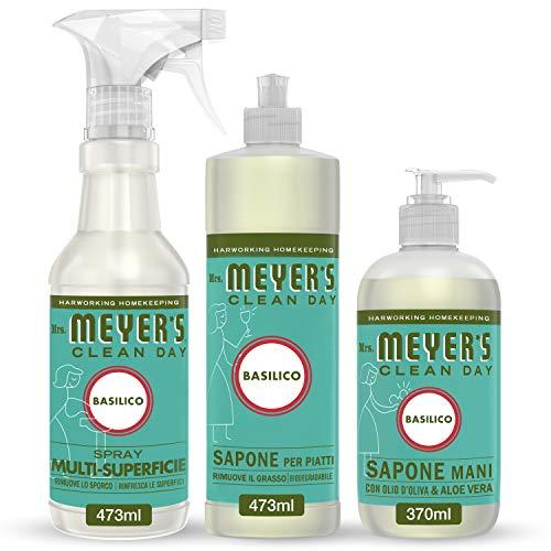 Mrs Meyer's Clean Day - 1 Detersivo Piatti + 1 Spray Multisuperficie + 1 Sapone Mani - Fragranza Basilico - Prodotti creati con Oli essenziali - 2 x 473 ml + 1 x 370 ml - Set Cucina