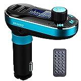 SEGURO - Kit de Manos Libres para automóviles con Reproductor MP3, transmisor de FM con Bluetooth y Cargador Compatible con USB/Tarjeta SD