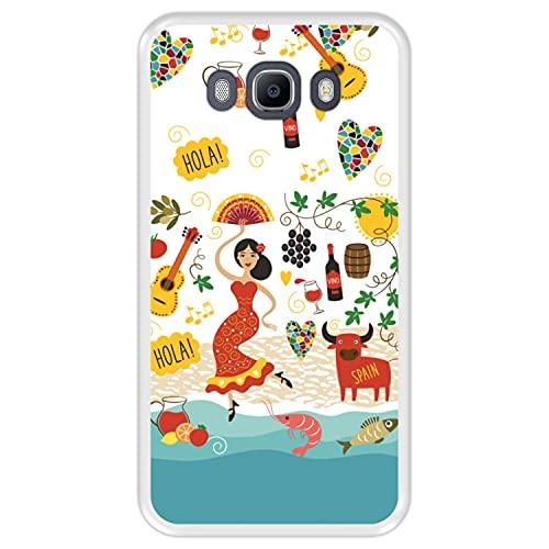 Hapdey Funda Transparente para [ Samsung Galaxy J7 2016 ] diseño [ España, referencias y símbolos ] Carcasa Silicona Flexible TPU