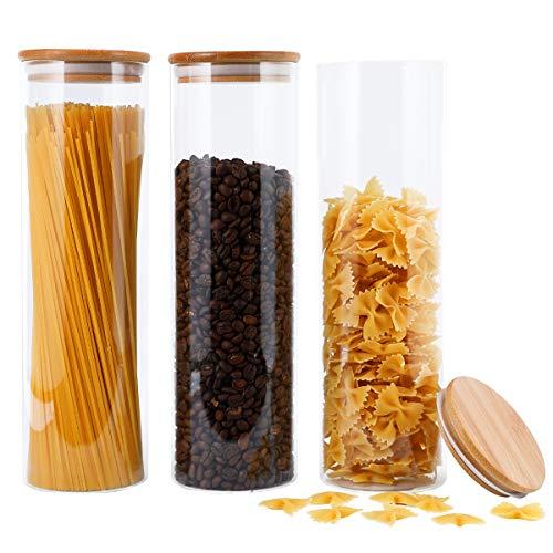 Focus Line Vorratsdosen aus Glas, hohe Borosilikatgläser mit luftdichtem Bambus-Deckel, 3er-Set, Küchendosen für Kaffee, Mehl, Zucker, Süßigkeiten, Kekse, Gewürze, 1600 ml